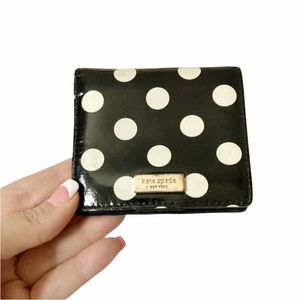 Kate Spade Black & White Cedar Street Tavy Polkadot Patent Leather Bifold Wallet